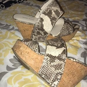Snakeskin wedge heel